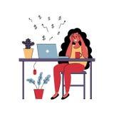 Het succesvolle meisje freelancer werkt thuis Vector illustratie royalty-vrije illustratie