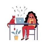 Het succesvolle meisje freelancer werkt thuis Vector illustratie stock illustratie