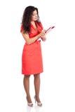 Het succesvolle verpleegster of vrouwenarts schrijven Stock Fotografie