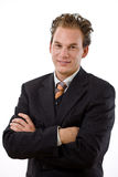 Het succesvolle zakenman glimlachen Stock Foto's