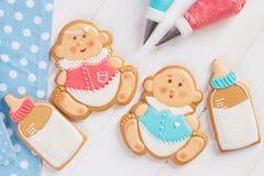Het suikerglazuurkoekjes van de babydouche Stock Afbeelding