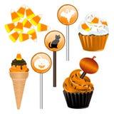 Het Suikergoed Cupcakes van Halloween Stock Afbeeldingen