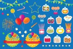 Het Suikergoed Pop Graan van het partijvuurwerk en Ballon Vectorillustratie Royalty-vrije Stock Foto's