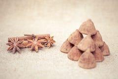 Het suikergoed van chocoladetruffels op een achtergrond van de textuur van de jutezak Stock Afbeeldingen