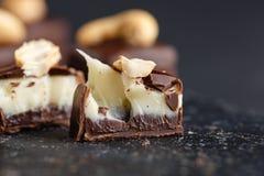 Het suikergoed van de besnoeiingschocolade met vanille en chocolade ganache royalty-vrije stock foto's