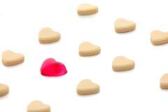 Het suikergoed van de hartvorm isoleerde wit Stock Afbeeldingen