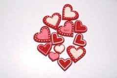Het suikergoed van de valentijnskaart op wit geïsoleerde achtergrond Royalty-vrije Stock Afbeeldingen