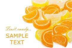 Het suikergoed van het fruit dat op het wit wordt geïsoleerdo Royalty-vrije Stock Foto's