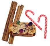 Het Suikergoed van het Riet van de Cake en van het Suikergoed van het Fruit van de kaneel Stock Foto