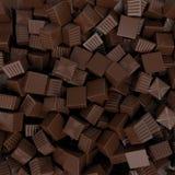 Het suikergoedachtergrond van de close-up bruine chocolade, het 3d teruggeven Stock Foto