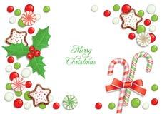 Het suikergoedprentbriefkaar van Kerstmis Stock Afbeelding
