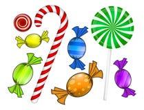 Het suikergoedreeks van Kerstmis Kleurrijk verpakt snoepje, lolly, riet Vector illustratie die op een witte achtergrond wordt geï Stock Afbeeldingen