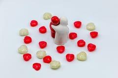 Het suikergoedvalentijnskaart van de hartliefde Stock Foto