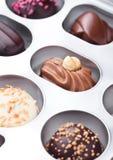 Het suikergoedverscheidenheid van de luxe witte en donkere chocolade Stock Afbeeldingen