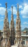 Het sunshiny Milan Cathedra-dak stock afbeeldingen