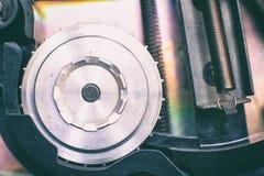 Het super 8 mm-detail van de projectorspoel, filmsymbool Stock Fotografie