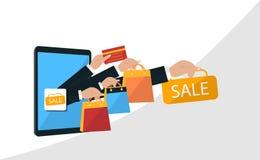 Het super ontwerp van de verkoopbanner voor Mobiel en online winkelconcept Digitale Marketing, opslag, Elektronische handel het w stock illustratie