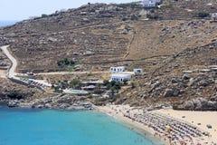 Het super Strand van het Paradijs in Mykonos stock foto