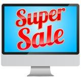 Het super teken van de Verkoop in moderne monitor Royalty-vrije Stock Fotografie
