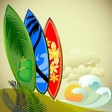 Het surfen Avontuur op een Tropisch Eiland vector illustratie