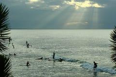 het surfen bij de zonsondergang Royalty-vrije Stock Foto's