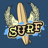 Het surfen Branding Als thema gehade Longboard met van het de Tatoegerings Esthetische Vlees van de Vleugels het Hand Getrokken T royalty-vrije illustratie