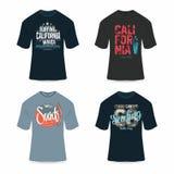Het surfen, de t-shirtontwerp van Californië, typografie voor t-shirtgrafiek Bekwaam om in grootte of schaal zijn veranderd Royalty-vrije Stock Foto
