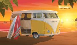 Het surfen in deze zomer Geniet van het vector illustratie