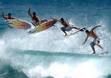 Het surfen luchtopeenvolging Stock Foto's