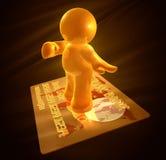 Het surfen op gouden creditcard Royalty-vrije Stock Afbeeldingen