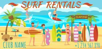 Het surfen op strand Vector illustratie stock illustratie