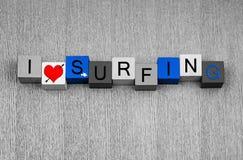 Het surfen, tekenreeks voor surfers, watersports en liefde van de branding royalty-vrije stock foto