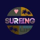 Het surfen typografie Stock Fotografie