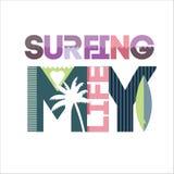 Het surfen typografie Stock Afbeelding