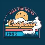 Het surfen van Californië druk vector illustratie