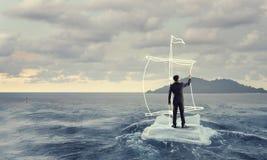 Het surfen van overzees op ijsijsschol Gemengde media royalty-vrije stock foto