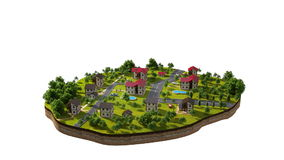 Het symbolische eilandleven van een kleine stad, met het mensen` s dagelijkse leven Als 3d animatie van Sims Alpha- steen stock footage