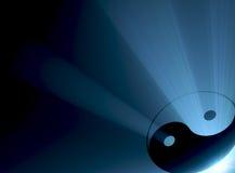 Het symbool blauwe gloed van Yang van Yin Royalty-vrije Stock Afbeeldingen