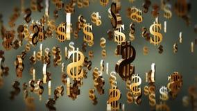 Het symbool die van de Amerikaanse dollarmunt, voorraadlengte vliegen stock videobeelden