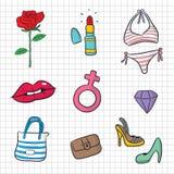 Het symbool en het pictogram van de vrouw stock illustratie