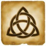 Het symbool oud document van de drievuldigheidsknoop Stock Fotografie