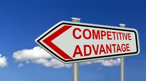 Het symbool rode tekst van het concurrentievoordeelteken - het 3d teruggeven Stock Afbeeldingen