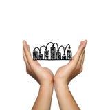 Het symbool van bedrijfsgrafiek op de mens dient concept in Royalty-vrije Stock Foto
