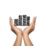 Het symbool van bedrijfsgrafiek op de mens dient concept van in Royalty-vrije Stock Afbeeldingen