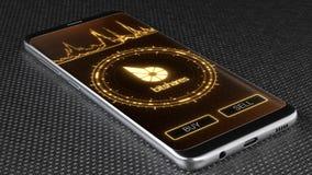 Het symbool van Bitsharescryptocurrency op het mobiele toepassingscherm 3D Illustratie stock afbeeldingen