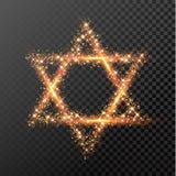 Het symbool van Chanoekadavid star van schittert vakantie van het lichten de Joodse festival Stock Afbeelding