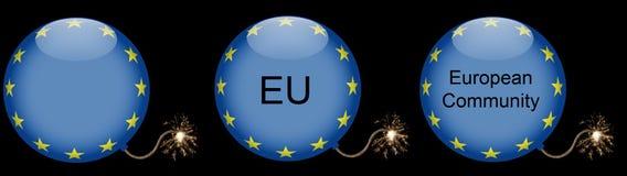 Het Symbool van de Crisis van de Bom van de Europese Unie royalty-vrije stock fotografie