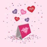 Het symbool van de de dagverkoop van Valentine ` s met kalender en vliegende confettien Stock Afbeeldingen