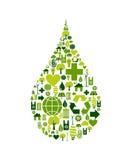 Het symbool van de daling met milieupictogrammen Royalty-vrije Stock Foto
