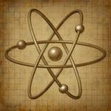 Het symbool van de de moleculewetenschap van het atoom grunge Stock Afbeelding